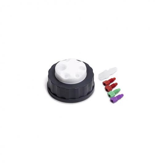 Agilent InfinityLab Stay Safe cap, S60 thread, 4 ports for waste can, including 2 x 3.2 mm od fitting, 2.3 mm od fitting, and 1.6 mm od fitting.